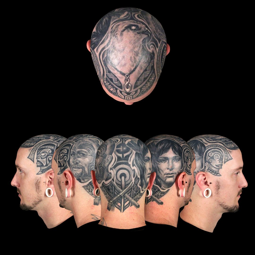 Anthony Michaels' 24 hour master canvas Head tattoos