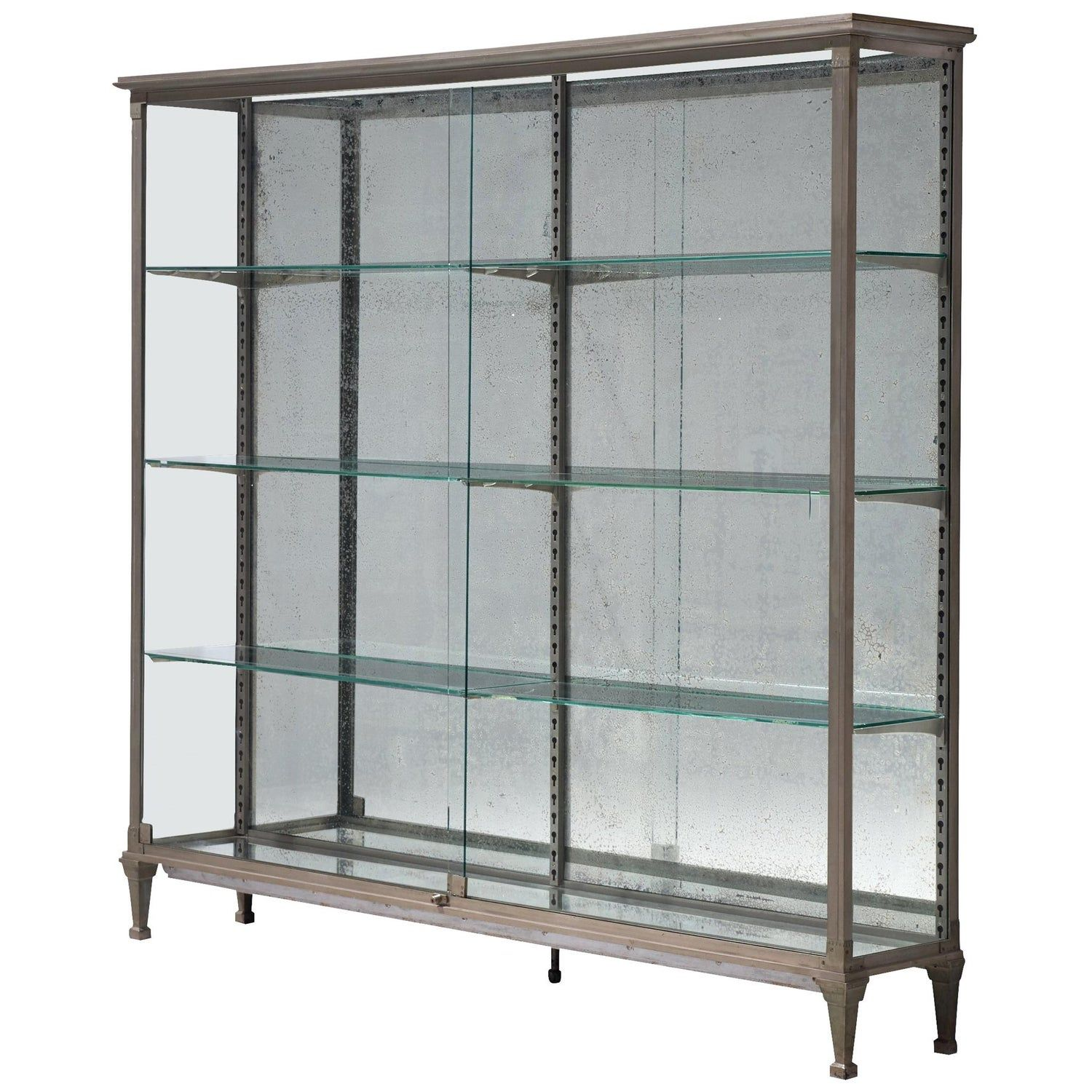 French Vitrine In Metal And Mirrored Glass French Vitrine Mirrored Glass Sliding Glass Door