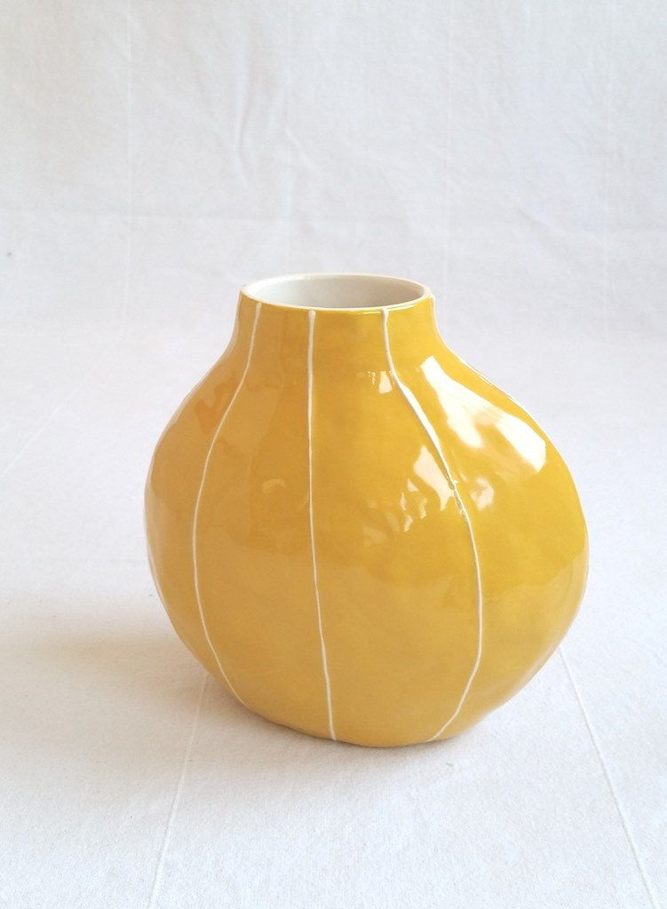 Flower Vase Simple Ceramic Form Gray Dark Blue Yellow And Coral