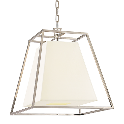 Appealing contrasts add dimension to Kyle's geometric minimalism. We suspend the smooth expanse of the shade within an airy frame of cast metalwork. The open space between the matching shapes emphasizes the inherent beauty of Kyle's geometric form.     Finish: Polished Nickel  Shade Options: White