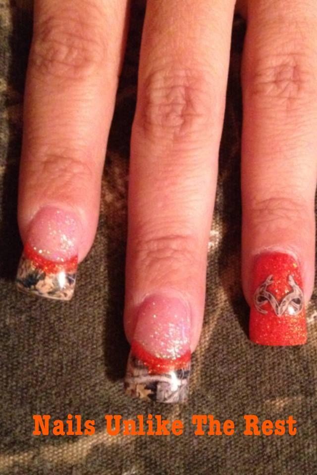 Hunter Orange Realtree Camo Camo Nails Nails Country Nails