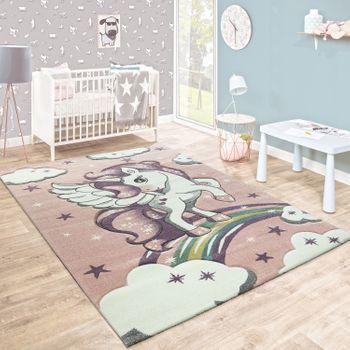 Kinderteppich Niedlicher Hase Grau Pastell Rosa