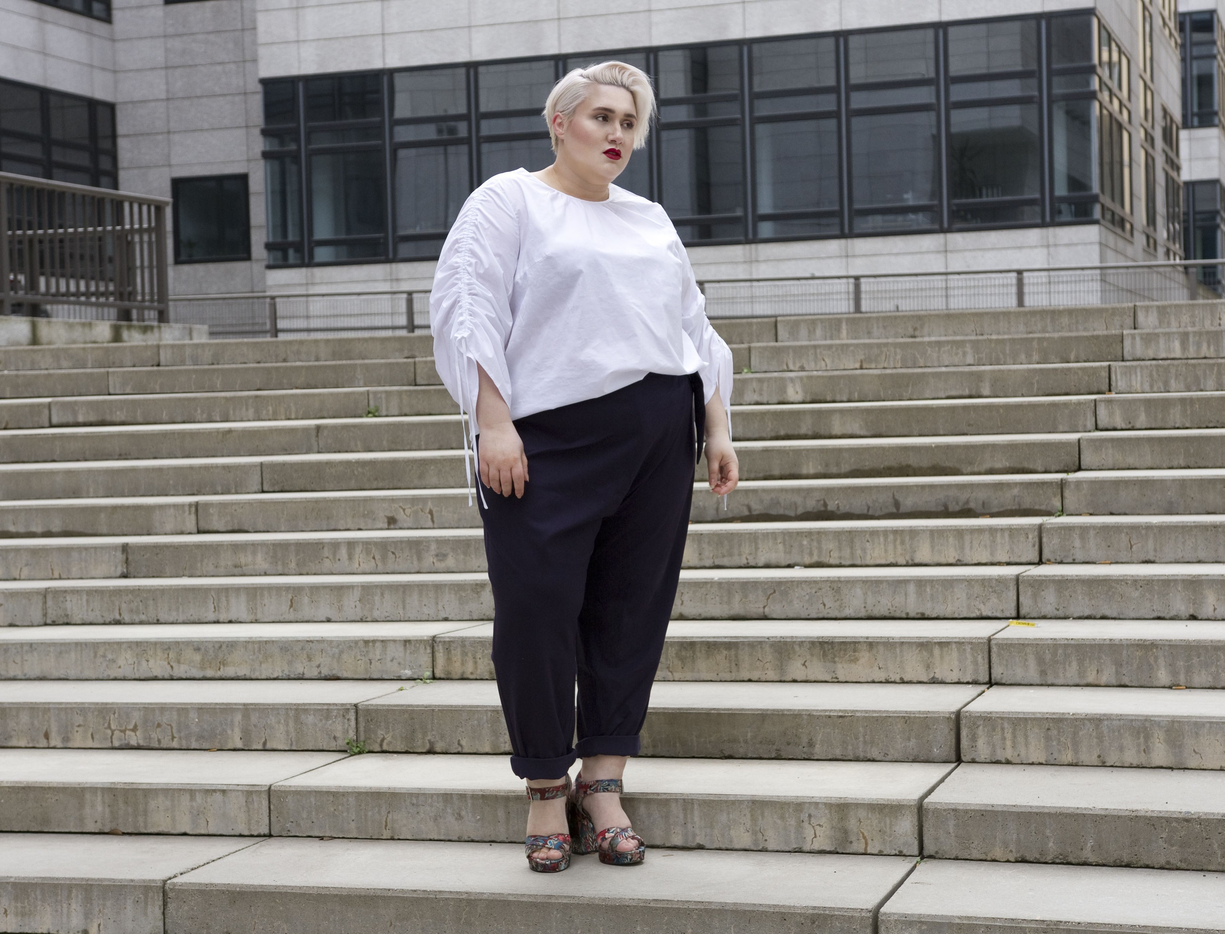 a6866547b816bc Fashion Must-Have  the clean high-waisted wrap trouser and the crisp white  shirt with volumized sleeves. Dressing Outside The Box meets navabi