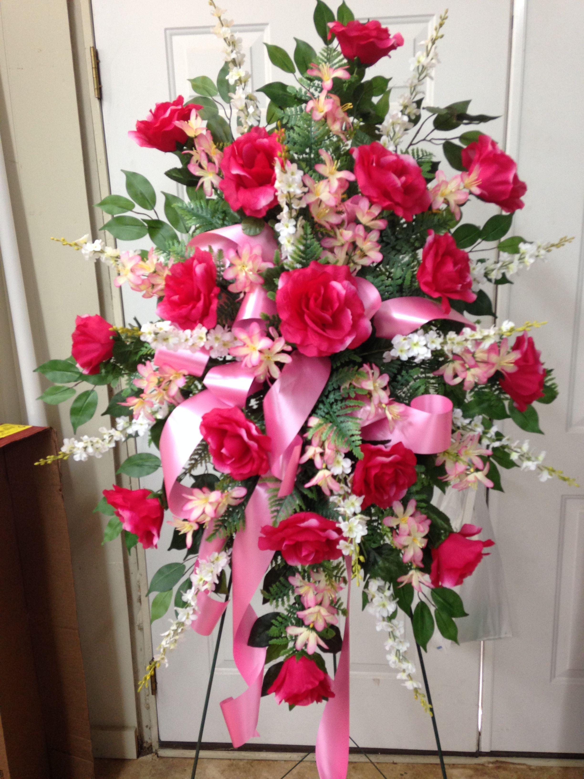 Silk Cemetery Spray Using Hot Pink Roses White Larkspur