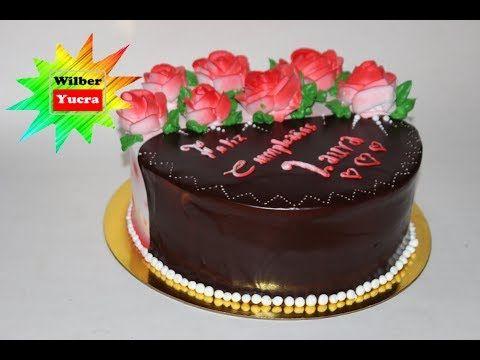 Como decorar un torta con rosas en crema chantilly y for Como decorar una torta facil y rapido