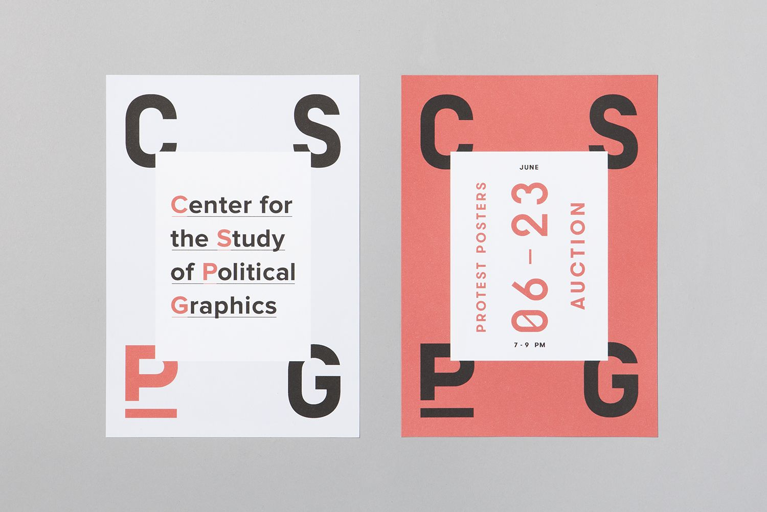 Visual identity and posters by Canadian studio Blok for The Centre for the Study of Political Graphics