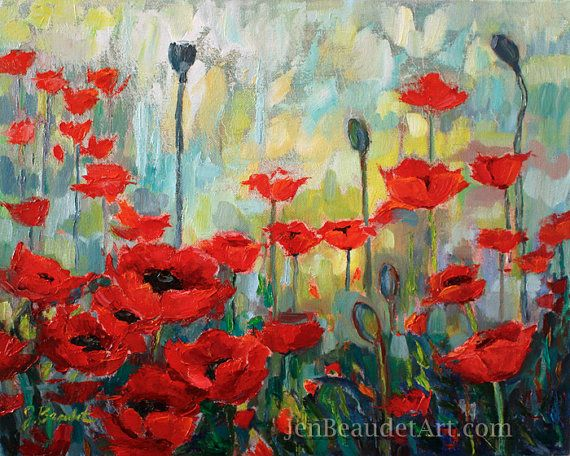 Original Impressionist Poppies Poppy Oil Painting Red Flower Painting Contemporary Floral Poppy Art Red Floral Pa Mohn Malerei Mohnblumen Kunst Blumen Gemalde