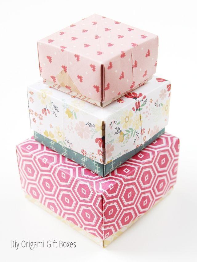 DIY Origami Gift Box with Cover | Geschenke einpacken, Diy ... | 853x640