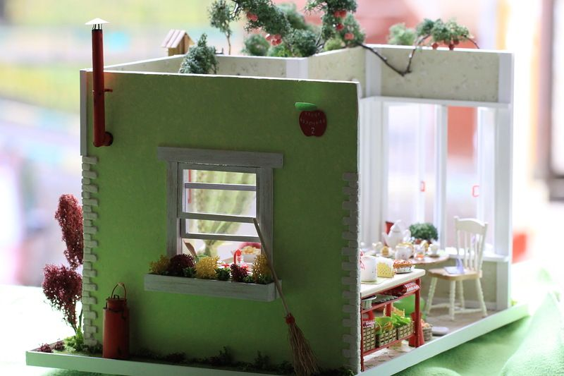 roombox 1:12, miniature 1:12, doll house, akvareel