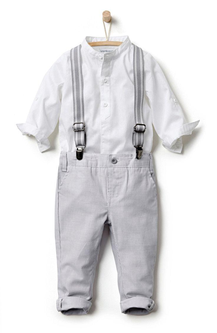 b62d4ded6 Conjunto camisa cuello mao + pantalón con tirantes