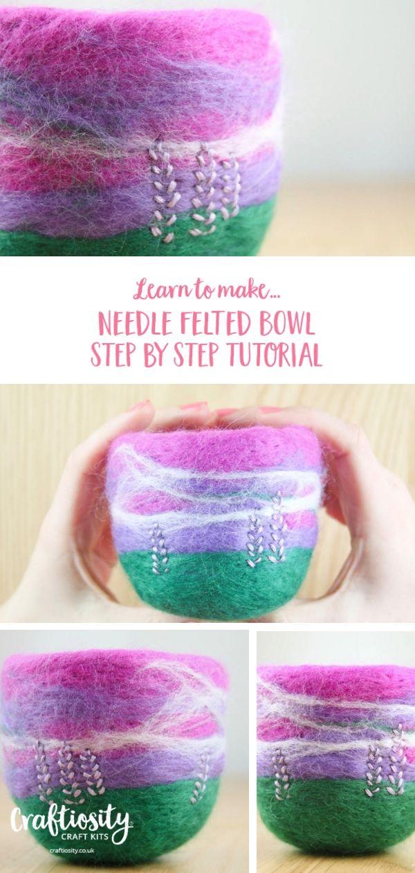 Needle Felted Bowl Tutorial #needlefelting