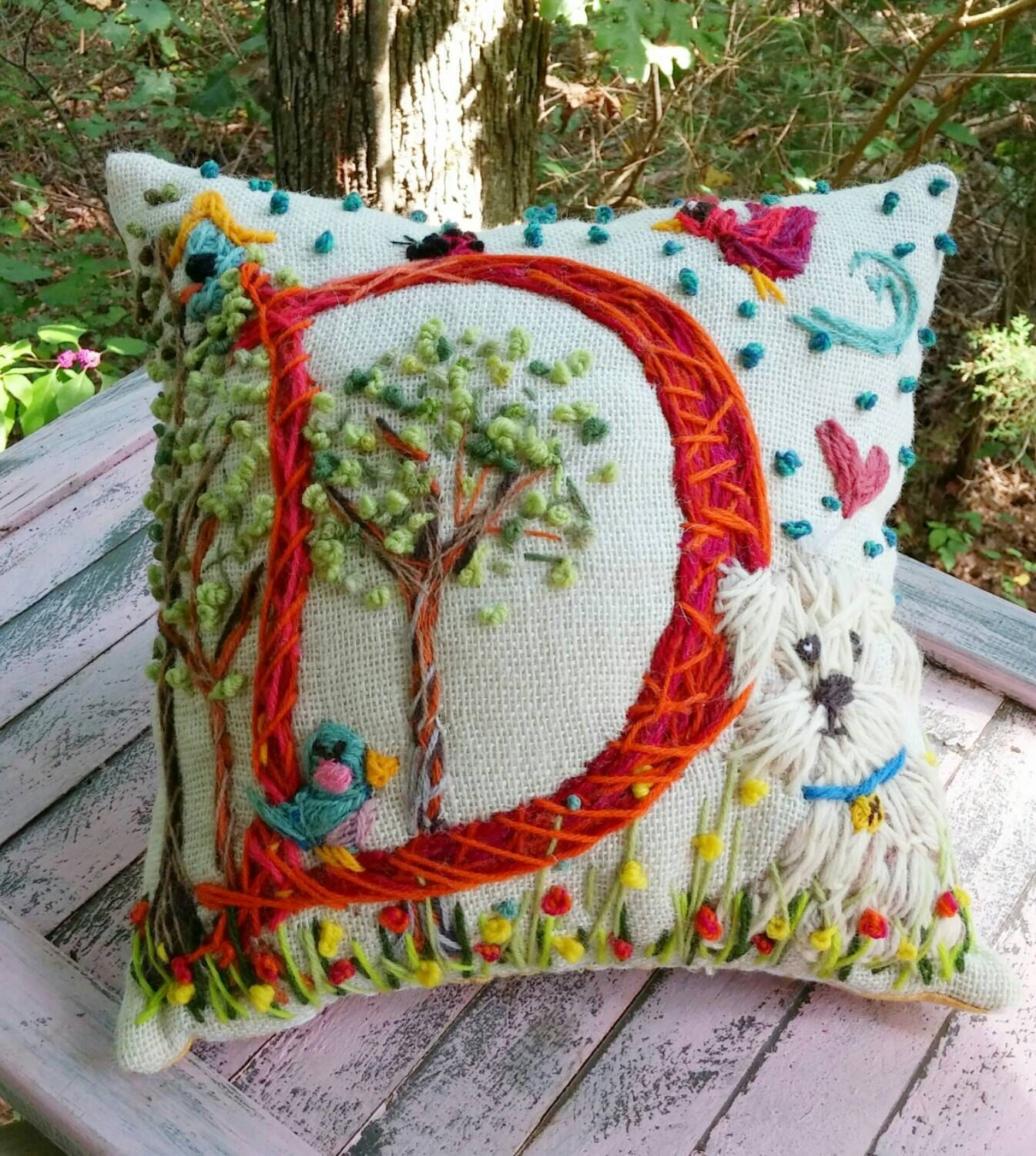 Hand Embroidered Initial Pillow LARGE Size Custom Design by YelliKelli on  Etsy https://