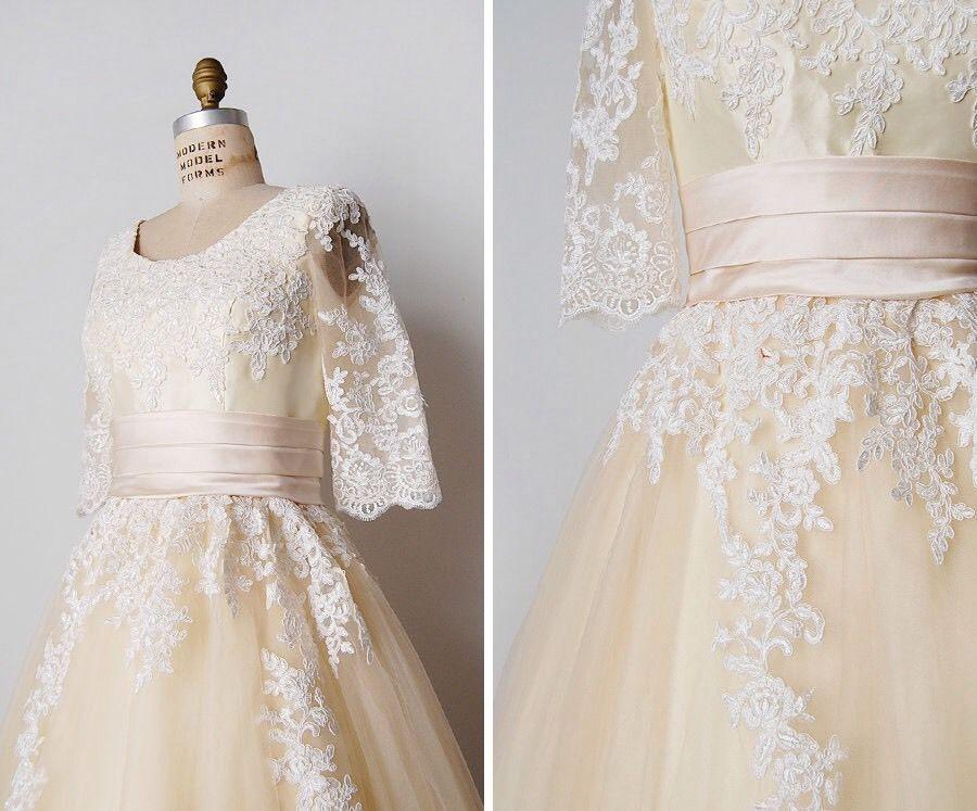 Vintage repro wedding dress 1950s lace tulle full skirt white justin ...