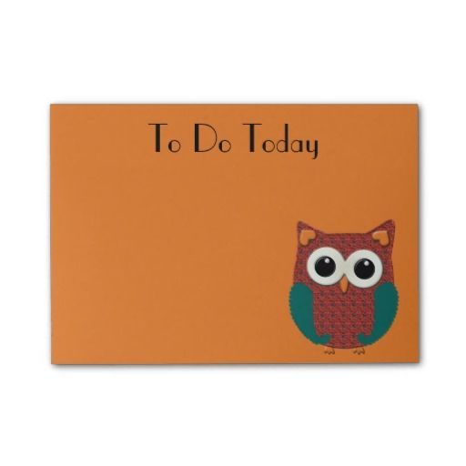 "Cute pink and teal floral owl on orange Post It notes.  50 sheet, 4""x3"".  Buy in bulk and save.  http://www.zazzle.com/alittlesticky"
