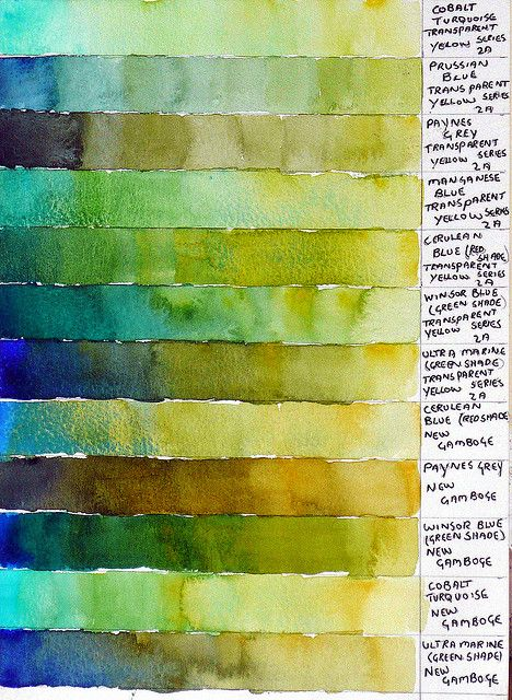 Green Colour Chart Green Color Chart Watercolor Art Watercolor