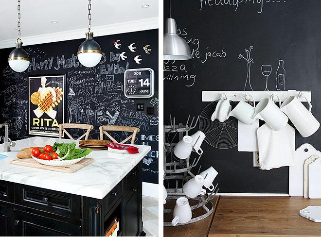Paredes de pizarra en cocina via miblog cocinas - Pizarras de cocina ...