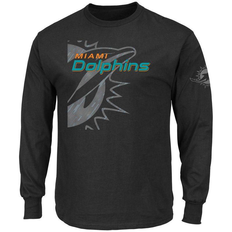 53bb1bfe Miami Dolphins Majestic Elite Reflective Long Sleeve T-Shirt - Black ...