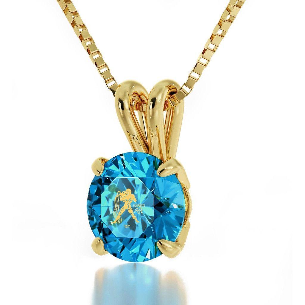 Buy aquarius sign k gold plated necklace swarovski at tuet