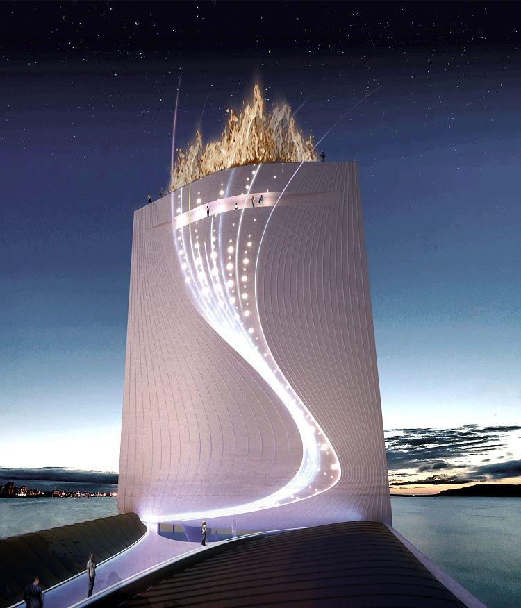 SOLAR CITY TOWER - A Solar City Tower engloba ainda outras funcionalidades. Anfiteatro, auditório, cafetaria e lojas são acessíveis no piso térreo, a partir do qual se acede igualmente ao elevador público que conduzirá os visitantes a vários observatórios, assim como a uma plataforma retráctil para a prática de bungee jumping.
