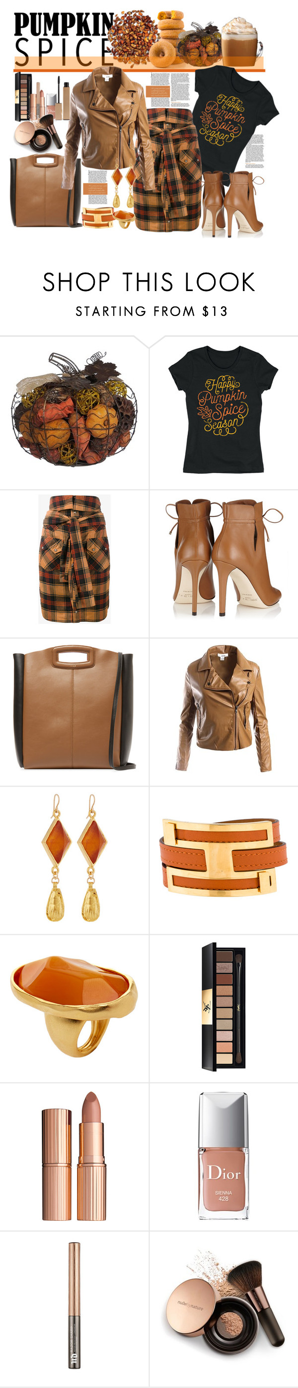 """Pumpkin Spice"" by marionmeyer ❤ liked on Polyvore featuring LC Trendz, Faith Connexion, Jimmy Choo, Maje, Sans Souci, Devon Leigh, Hermès, Kenneth Jay Lane, Yves Saint Laurent and Charlotte Tilbury"
