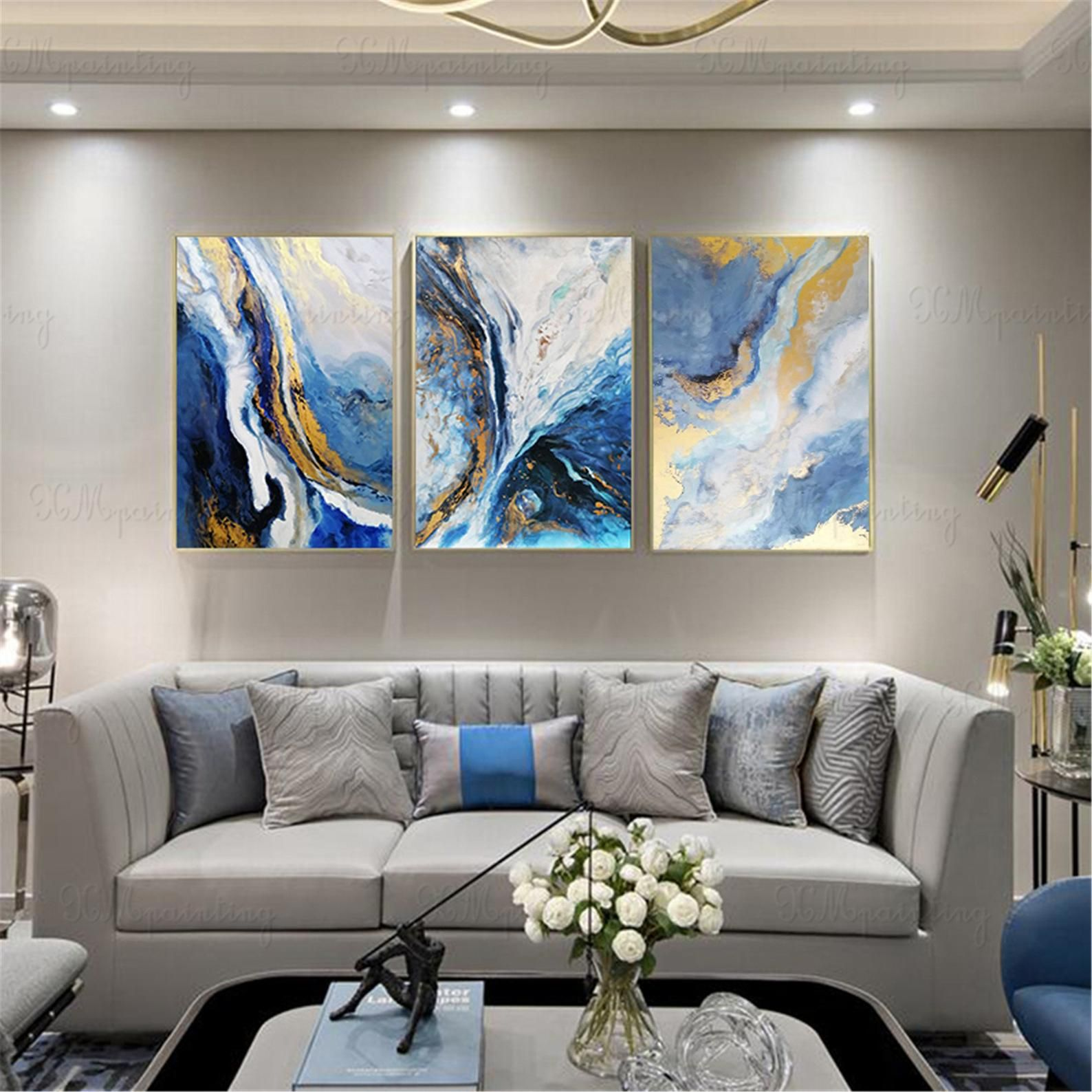 Framed 3 Panels Acrylic Canvas Abstract Painting Wall Art Picture For Living Room Bedroom Wall Decor Handmade Gold Art Blue Water Landscape Wall Decor Bedroom Wall Decor Living Room Living Room Pictures