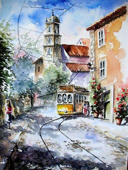 Lisbon Passion By Almeida Coval Watercolor Architecture