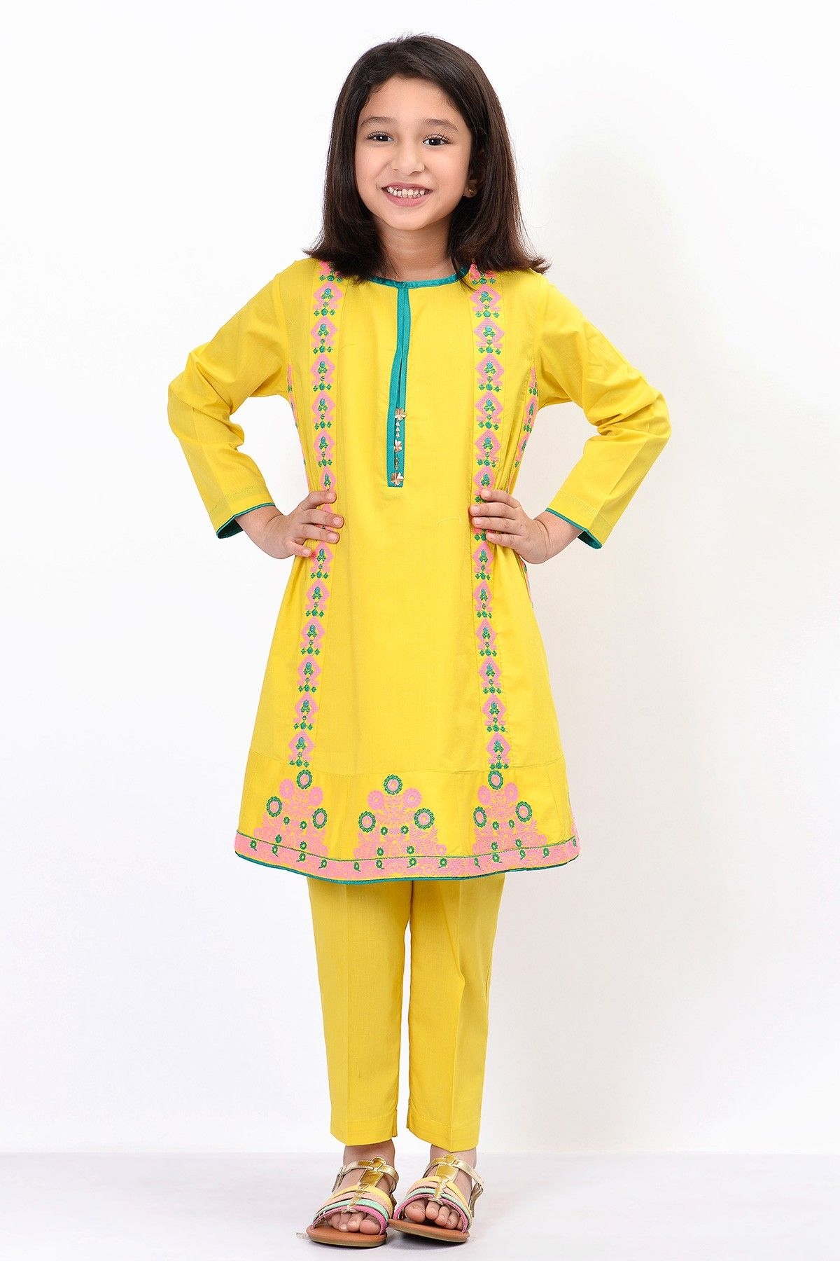 2f0d10a741 Khaadi – Embroidered Kurta with Pants - Kids | Khadi | Summer ...