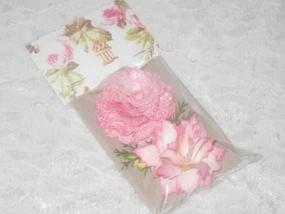Hand Sculpted 3D Paper Flowers with Shimmer by VintageParisMarket