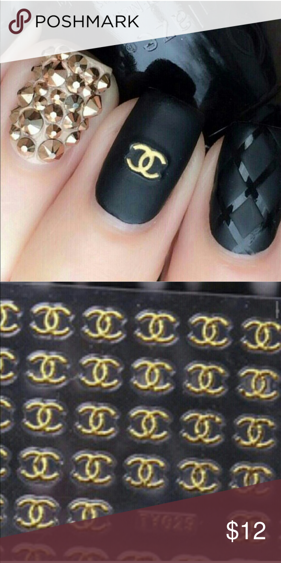 Chanel Nail Stickers It Comes 72 Little Gold Tone Logo Sticker For Nails Fashion Designes Other