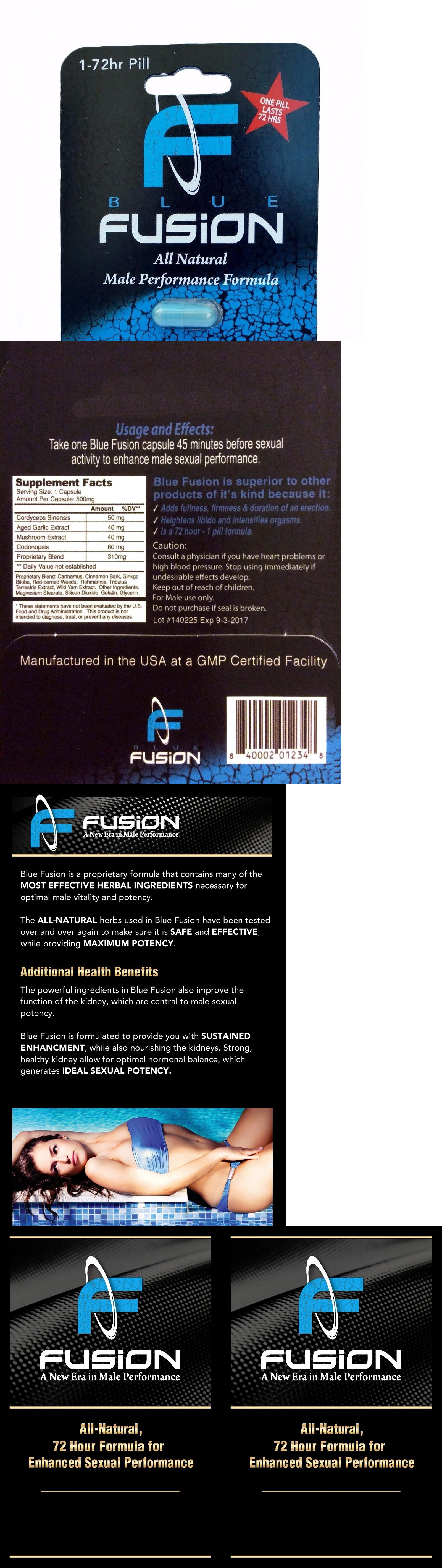 Sexual Remedies and Supplements: Bluefusion Premium Natural Herbal Male Enhancement And Testosterone Booster BUY IT NOW ONLY: $96.0