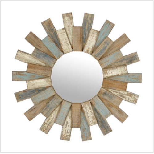 Rustic Round Mirror Vintage Distressed Multi Color Wood Plank Home