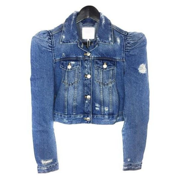 13599115 Zara Women's Denim jacket with puff sleeves 5252/016 ($44) ❤ liked on  Polyvore featuring outerwear, jackets, jean jacket, blue denim jacket, puff  sleeve ...