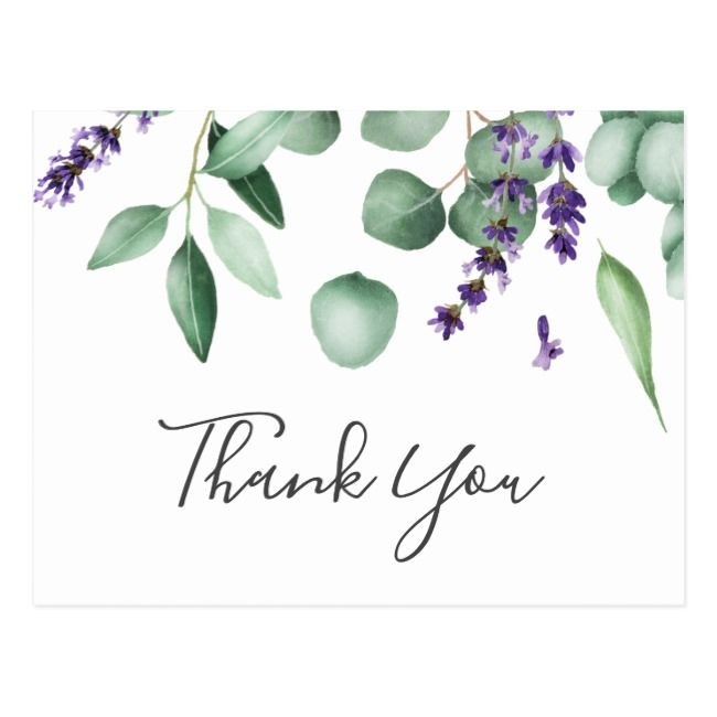 Rustic Lavender and Eucalyptus Thank You Postcard |  Rustic Lavender and Eucalyptus Thank You Postcard