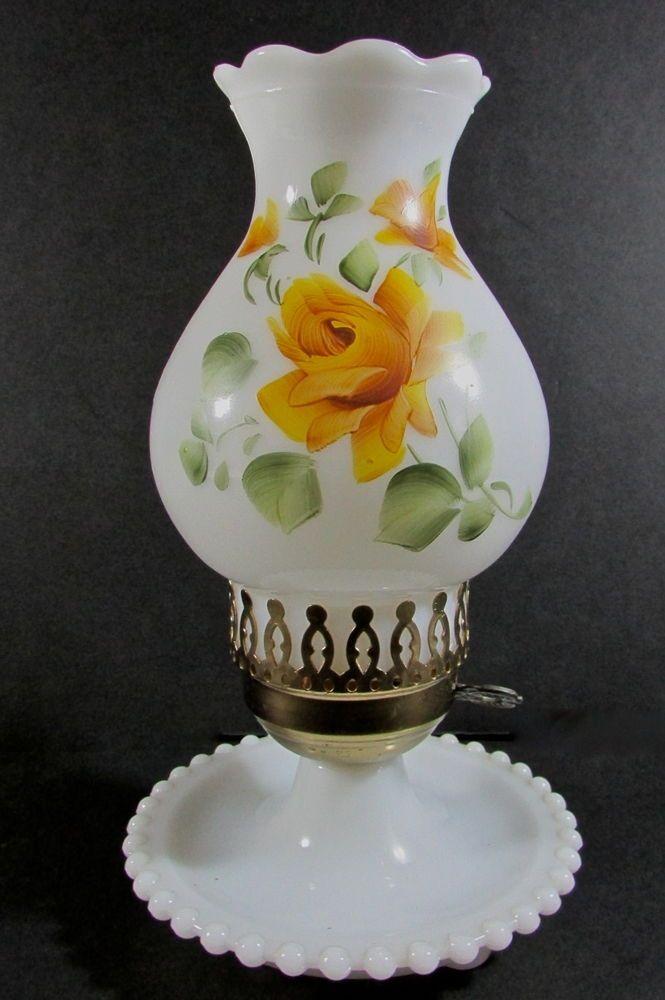Vintage Fenton Milk Glass Hurricane Table Boudoir Lamp Hand