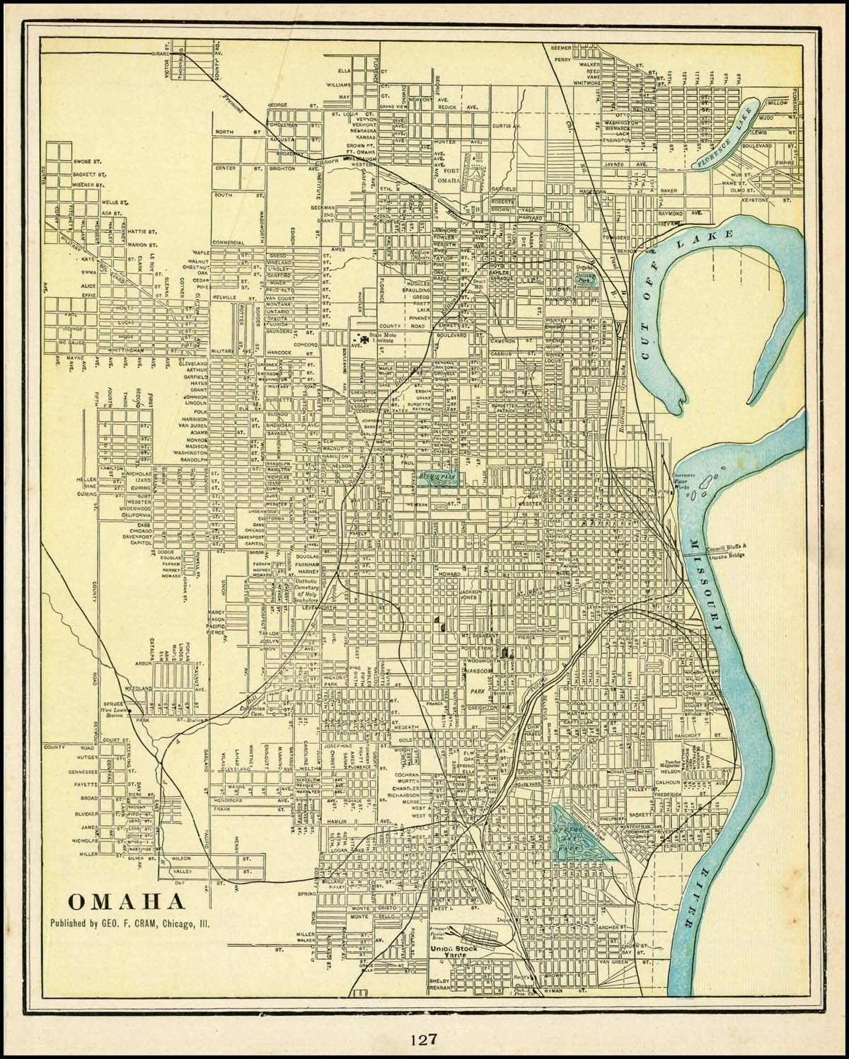 1892 George F Cram Atlas Map Omaha Omaha Map Antique Map Map