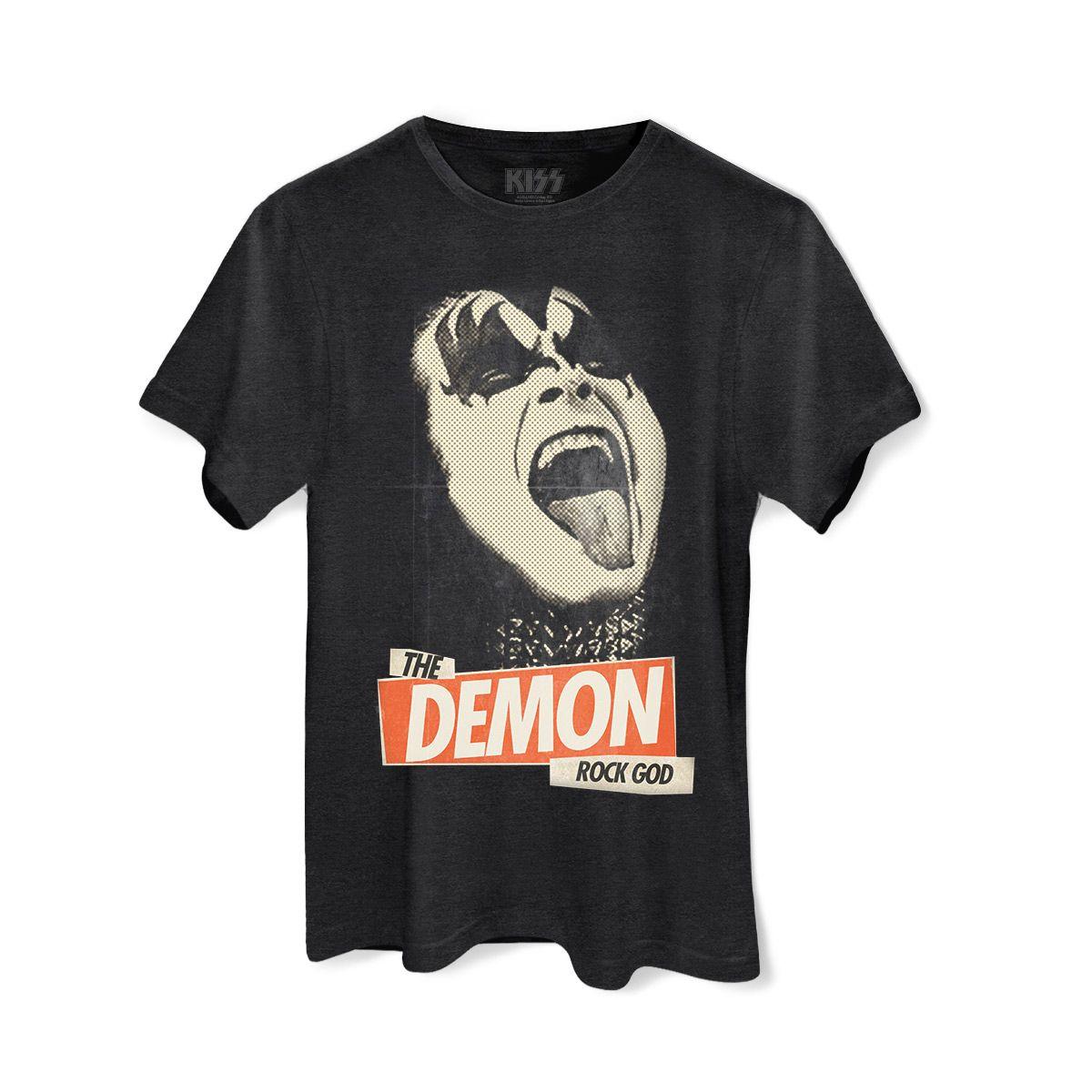 T-shirt Premium Masculina Kiss Rock God #Kiss #TheDemon #Rock #ShowdoKiss #CamisetadeRock