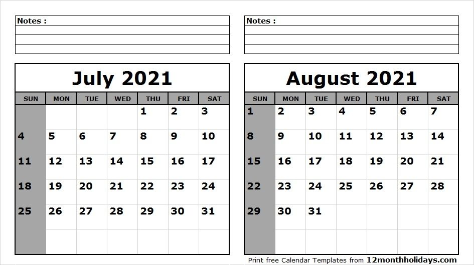 July August 2021 Calendar Printable July August 2021 Calendar in 2020 | 2020 calendar template