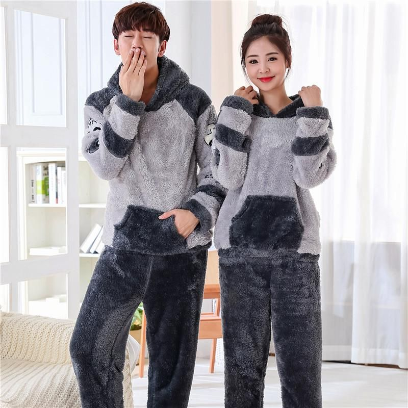 cd3725781 C7 Pijama Pajamas Long Sleeve Men woman Fall Winter Couples Thicker Flannel  Coral Velvet Home Service Nightwear pyjamas