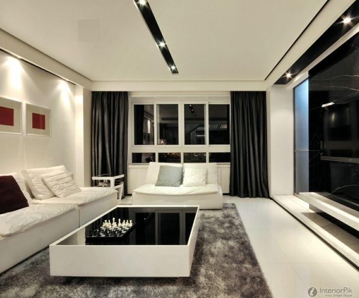 Tipos de cortinas sal n muy moderno de estilo minimalista - Cortinas salon moderno ...