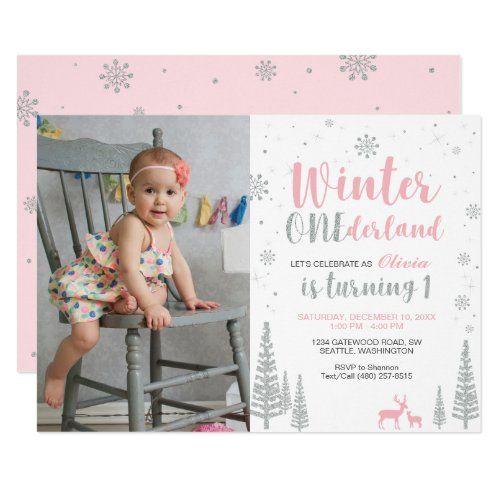Winter Onederland 1St Birthday Invitation Girl Win