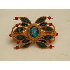 Rainforest Macrame bracelet with turquoise & orange agathe