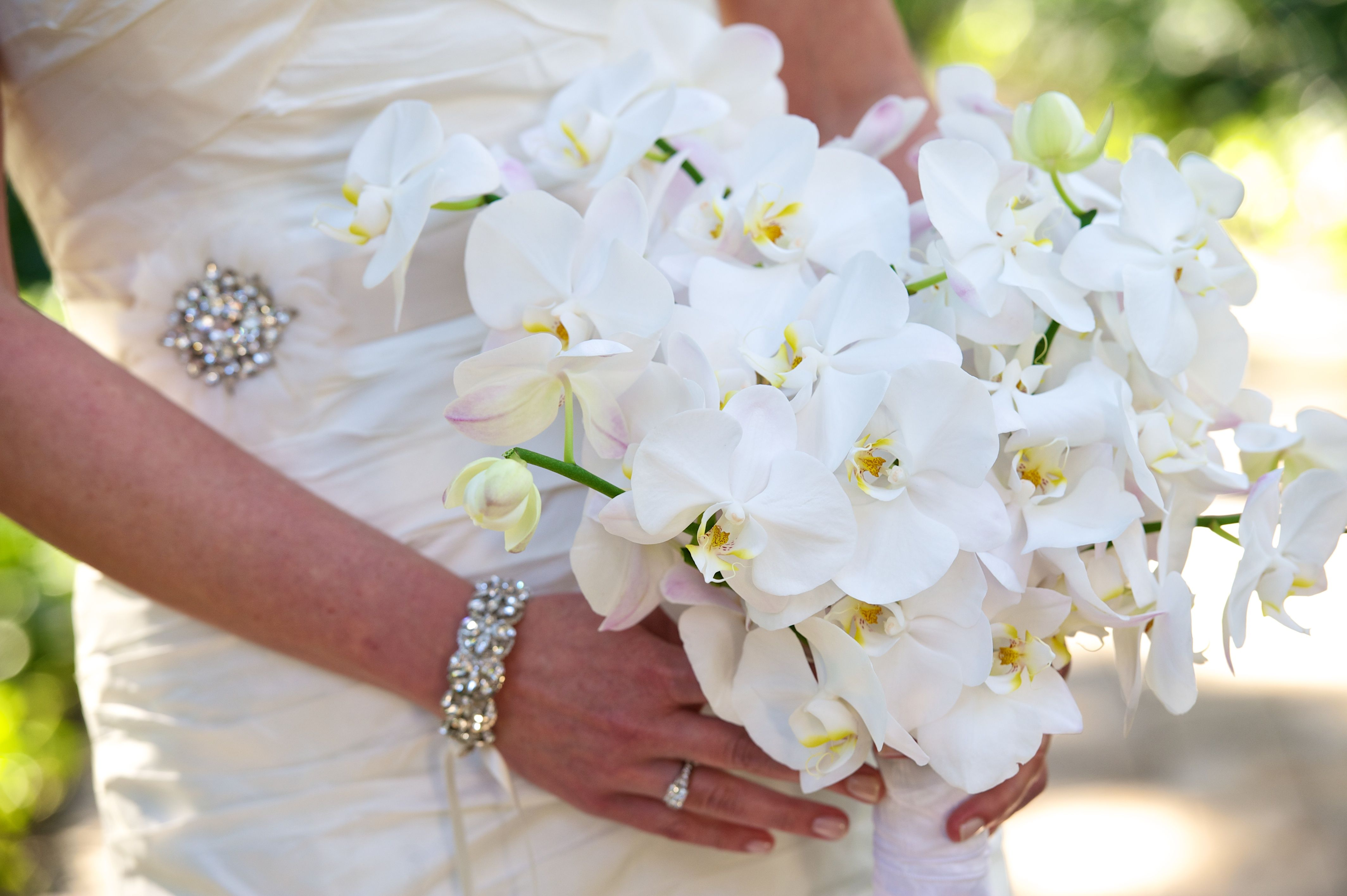 White Orchid Bridal Bouquet Seaisland Seaisland Wedding
