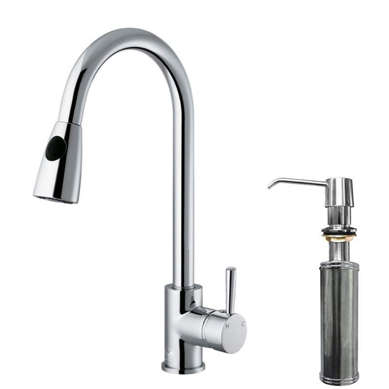Vigo VG02005K2 Kitchen Faucet Single Handle with Pull-Out Spray and Deck Plate 1 Chrome Faucet Kitchen Single Handle