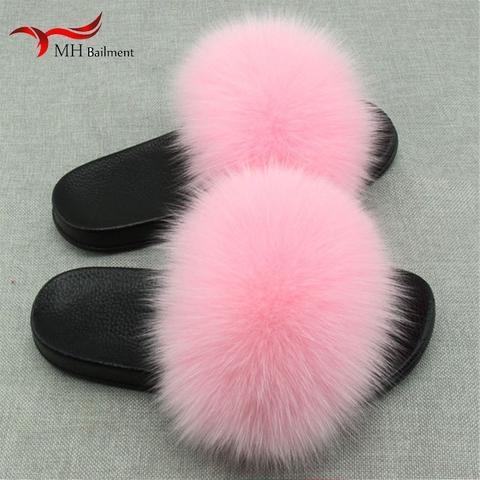 Women Fox Fur Slides for Summer Girl Furry Slides for Outdoor Soft Flat Fluffy