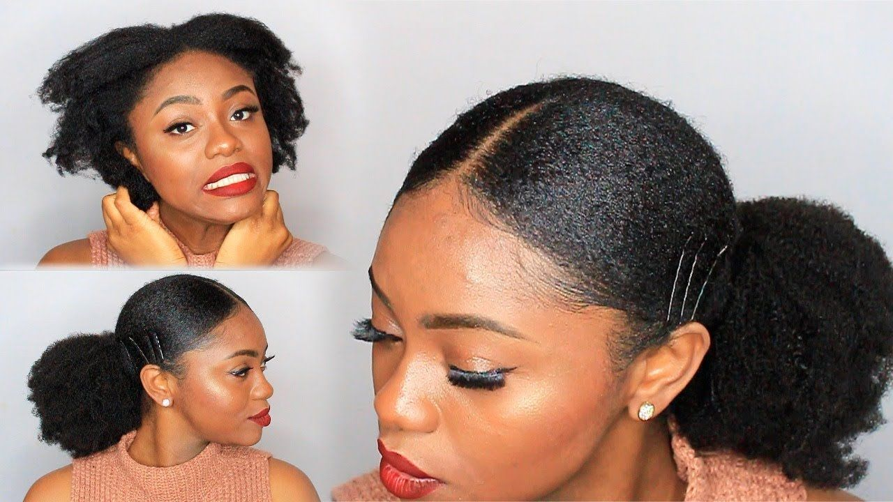 Natural Hair Sleek Low Ponytail On 4c Hair W Extensions With