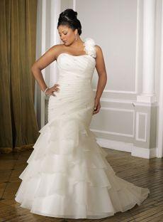 Attractive Trumpet / Mermaid One Shoulder Floor-length Organza White Plus size Wedding Dress