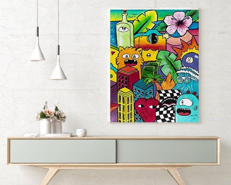 Colorful Wall Art Living Room Wall Art Pop Art Print Etsy Graffiti Wall Art Colorful Wall Art Living Room Graffiti Style Art