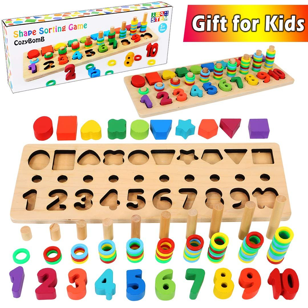 Wooden Math Blocks Sorting Puzzle Board Toddlers Baby Preschool Learning Toy