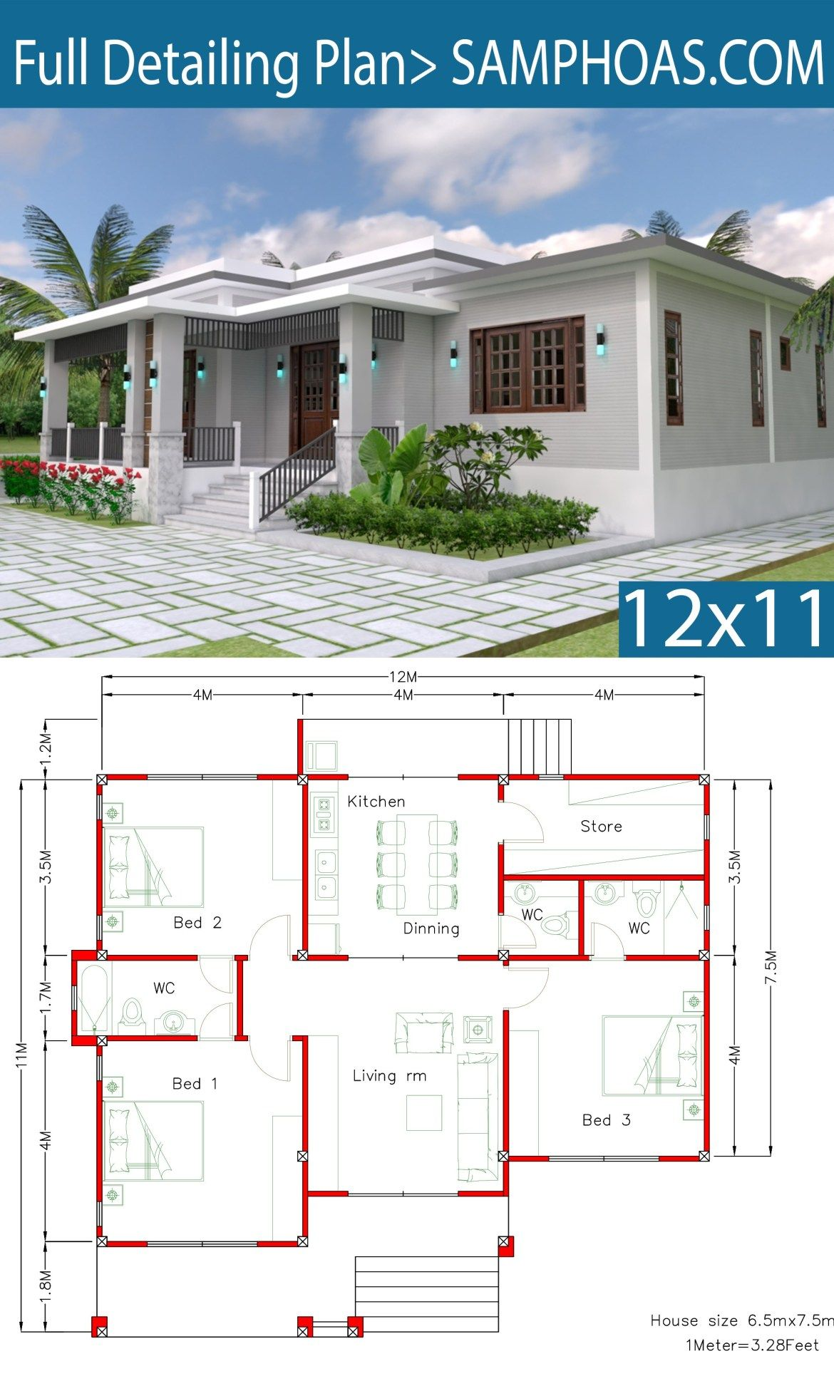 House Design With Full Plan 12x11m 3 Bedrooms Samphoas Plansearch Bungalow House Plans House Plan Gallery Simple House Design