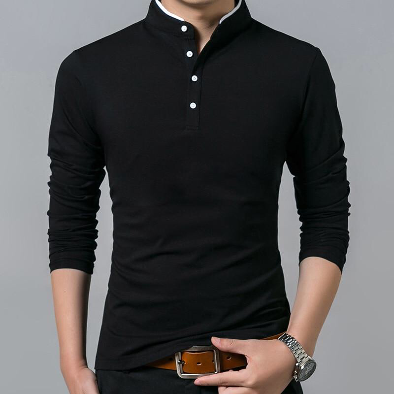 T Shirts for Men Solid Color Cotton Linen Tees Long Sleeve Polo Shirts Pullover Brief Loose Tops